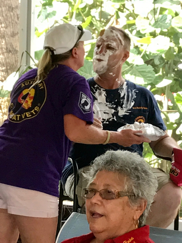 This was Diana (Ladybug) smashing Barney (20-1 Commander) with a pie to his face. Another great pic from our fund raiser on 30 September 2017